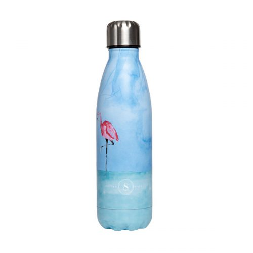premium yoga water bottle balancing flamingo