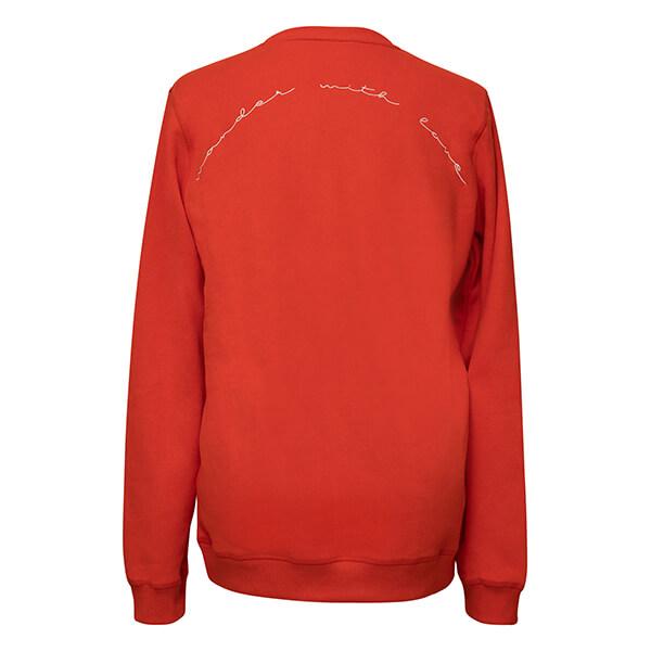 premium organic cotton sweatshirt wander with love red back