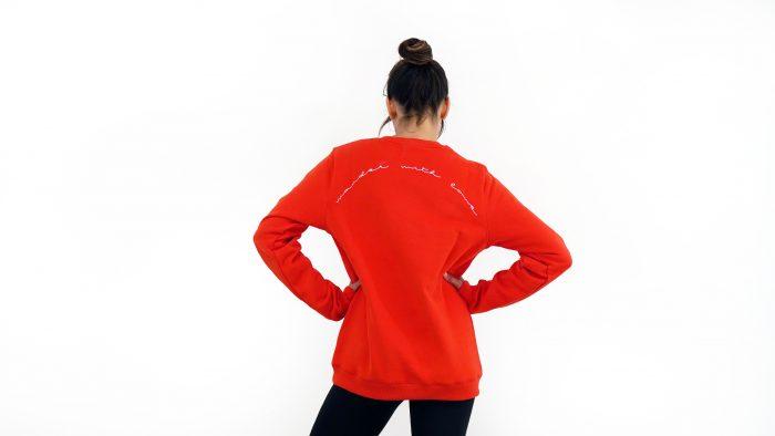 premium organic cotton sweatshirt wander with love red model